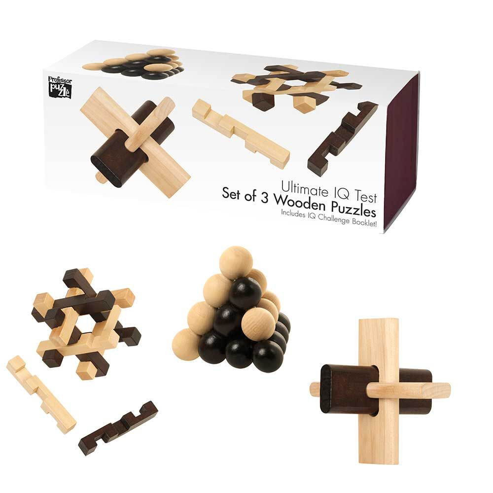 Professor Puzzle Set of 3 Wooden Puzzles