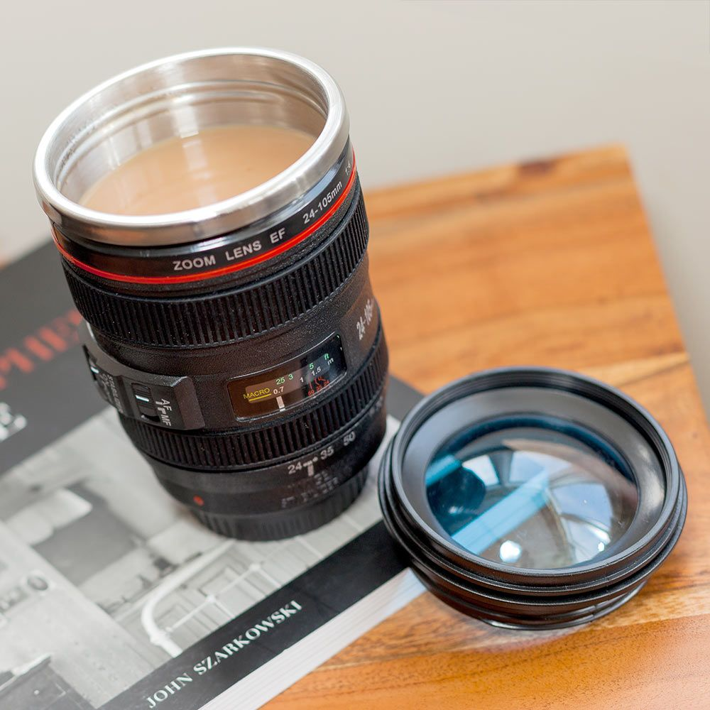 Camera Lens Mug With Lid 1 1 Scale Realistic Camera Lens
