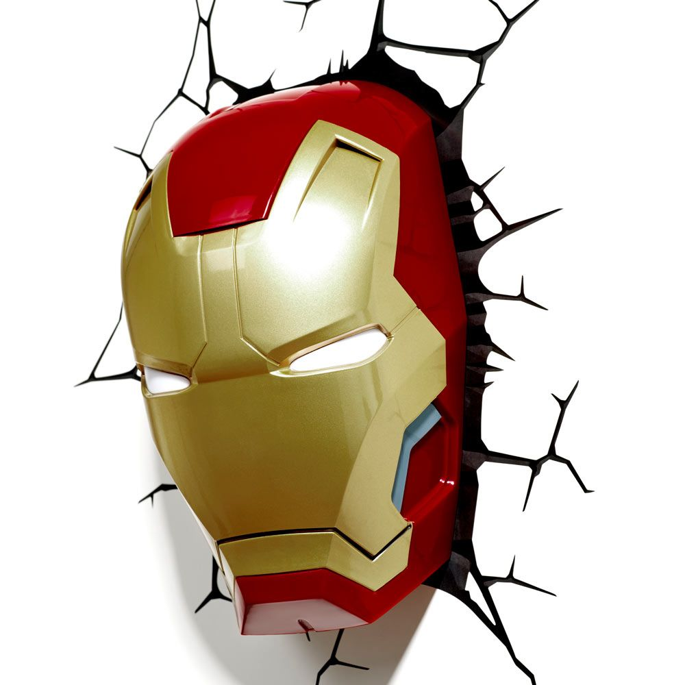 Iron Man 3 Face 3d Deco Light Energy Efficient Wall