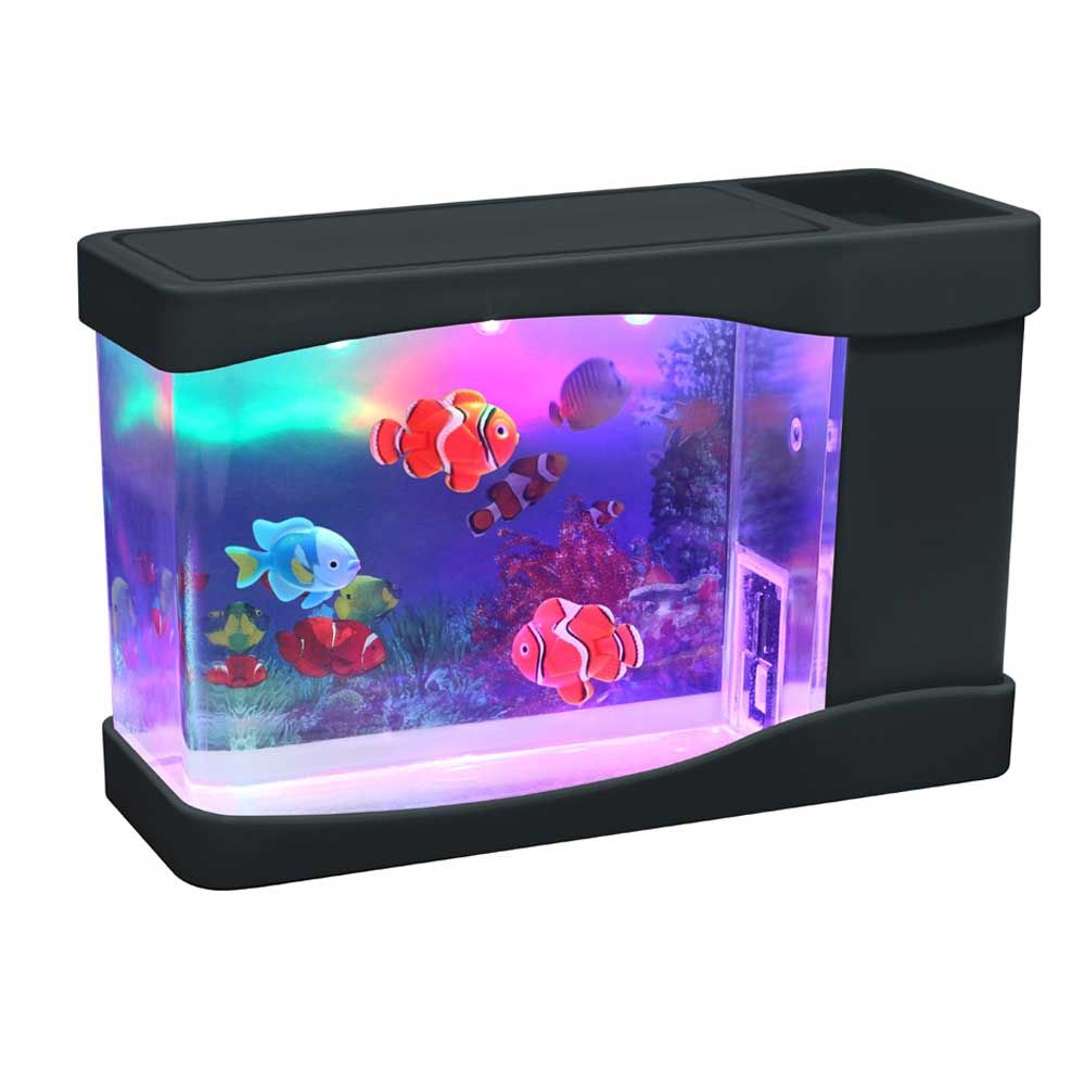mini fish aquarium realistic sea background with lights. Black Bedroom Furniture Sets. Home Design Ideas