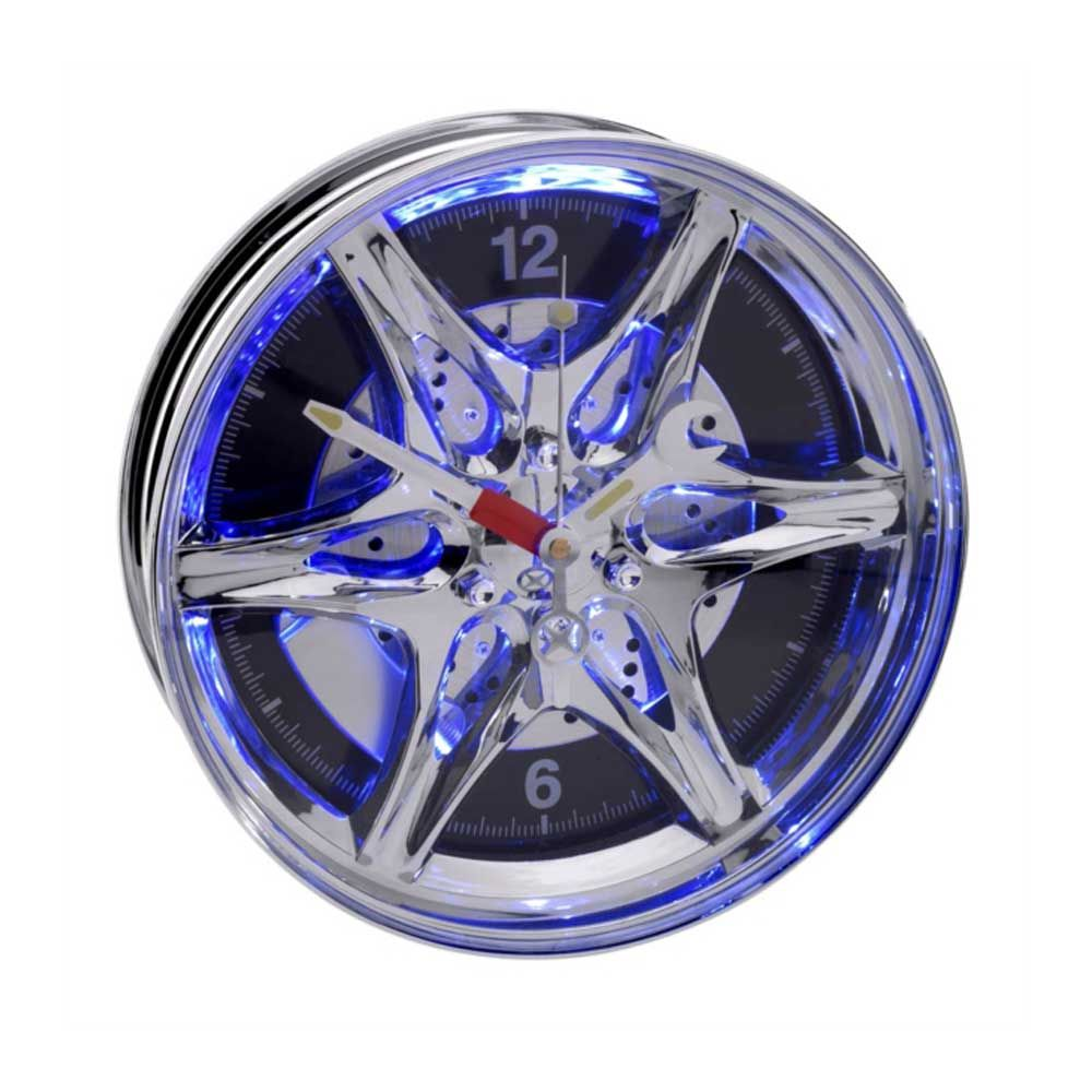 Neon Rim Wall Clock Novelty blue coloured clock for the car mad