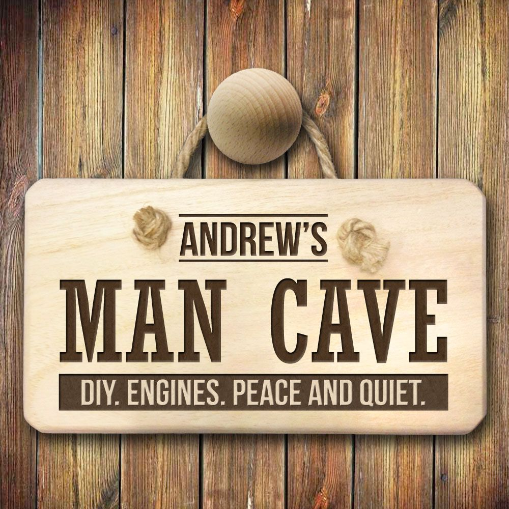 Man Cave Present Ideas : Personalised man cave sign custom engraved plaque menkind
