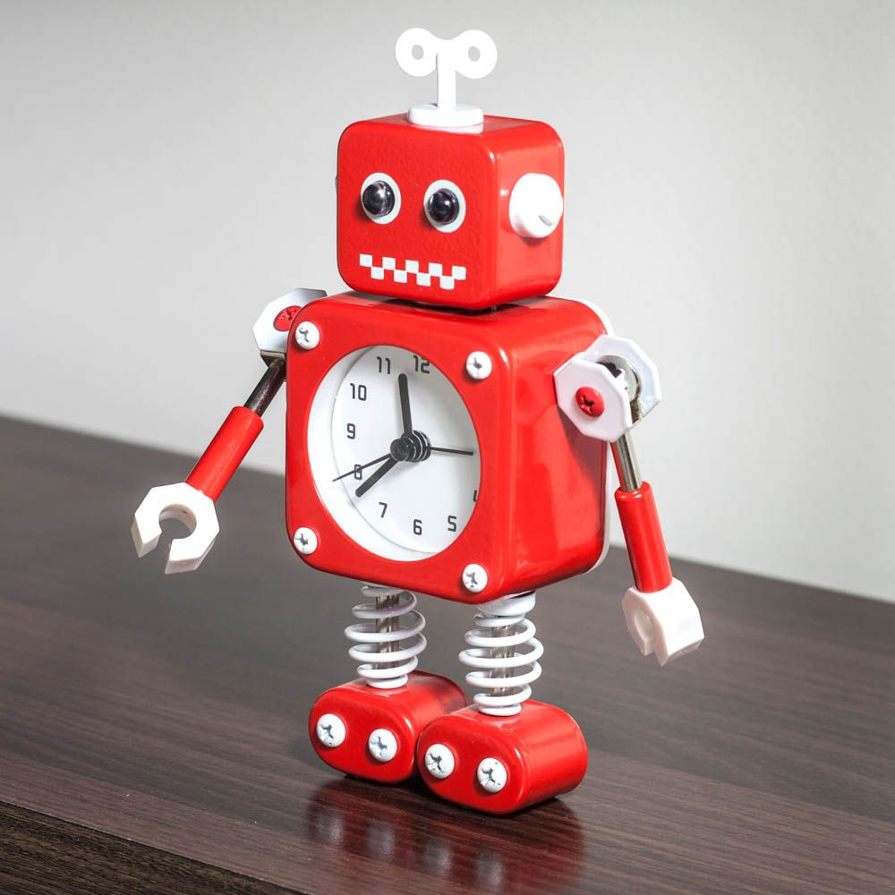 Robot Alarm Clock - Fun Red Robot Alarm Clock With Light Up Eyes ...