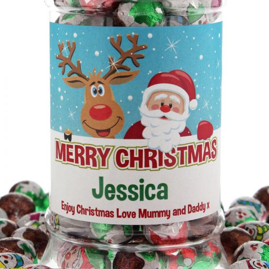 Personalised Christmas Chocolates Jar 1