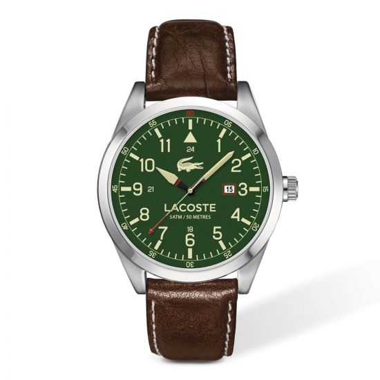 The Lacoste Montreal Watch has a stainless steel case and green dial, set on a brown leather strap with up to 50 ATM water resistance and a 2 year warranty.
