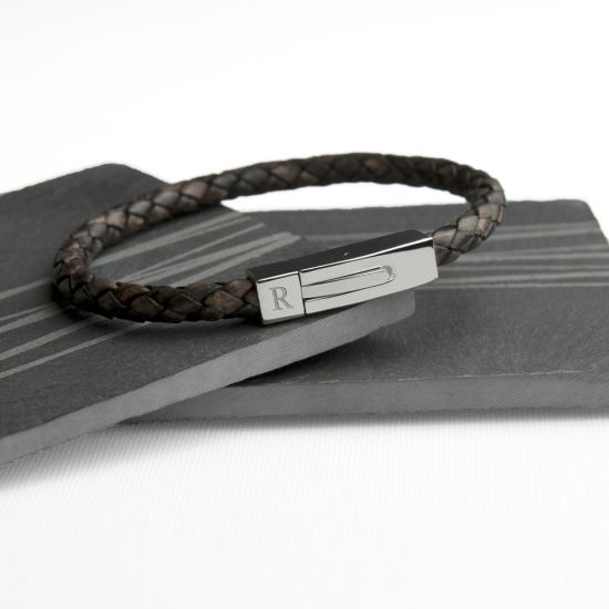 Personalised Men's Leather Bracelet With Tube Clasp 1