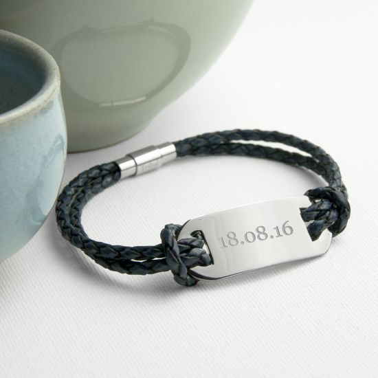 Personalised Men's Statement Leather Bracelet In Navy 1