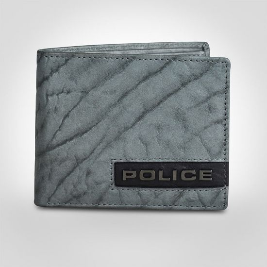 Police Droid Leather Overflap Coin Wallet - Grey/Black 1