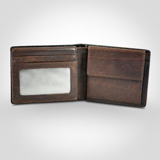 Police Metal Leather Overflap Coin Wallet in Brown 1