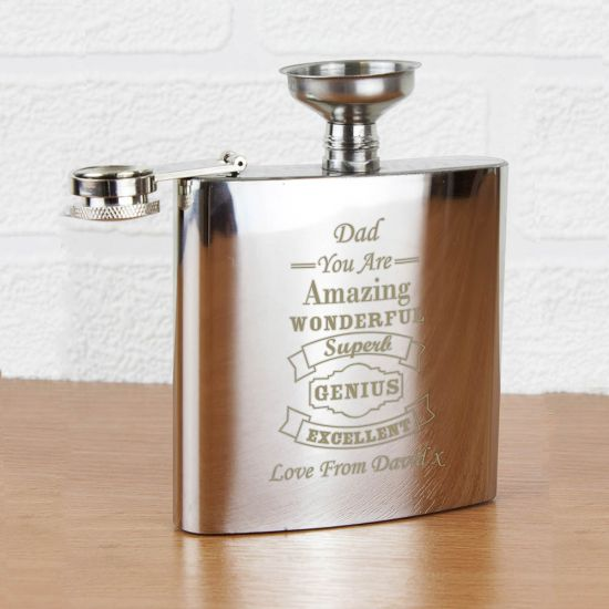 Vintage Typography Hip Flask 1