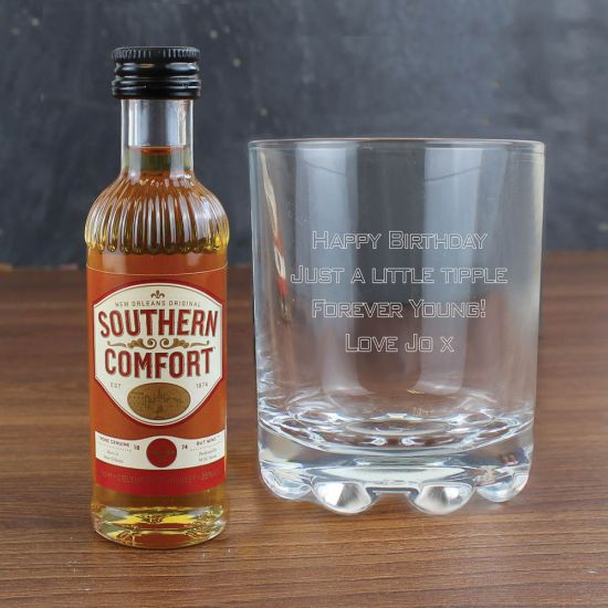Whisky Glass and Southern Comfort Miniature Set 1