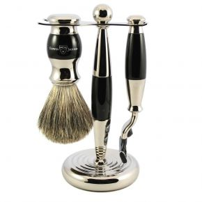 3 Piece Shaving Set Black & Nickel