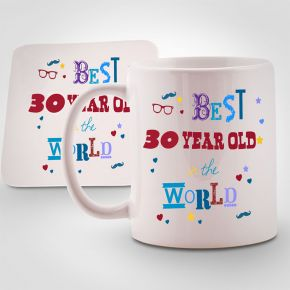 Personalised Best 30 year old in the World Mug & Coaster