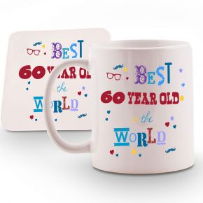 Personalised Best 60 year old in the World Mug & Coaster