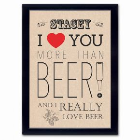 Personalised I Love You More Than Beer Poster