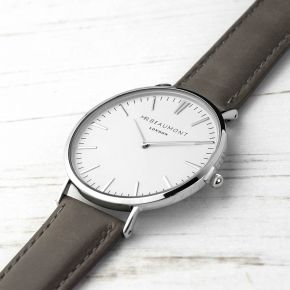 Personalised Men's Leather Watch In Ash (Serif)