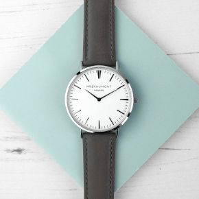 Personalised Men's Leather Watch In Ash (Sans Serif)