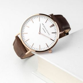 Personalised Men's Leather Watch In Brown (Serif)