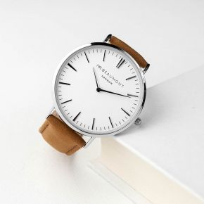 Personalised Men's Leather Watch In Camel (Sans Serif)