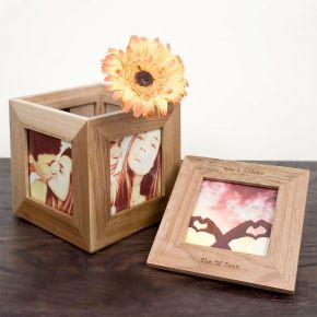 Personalised Oak Photo Frame Keepsake Box