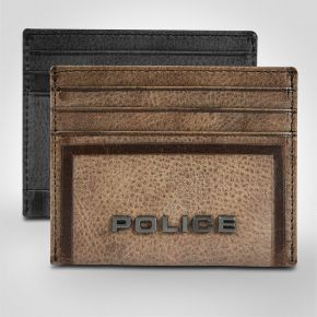 Police Metal Leather Credit Card Case