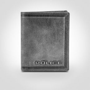 Police Metal Leather North Wallet in Black