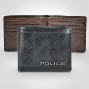 Police Metal Leather Slim Wallet