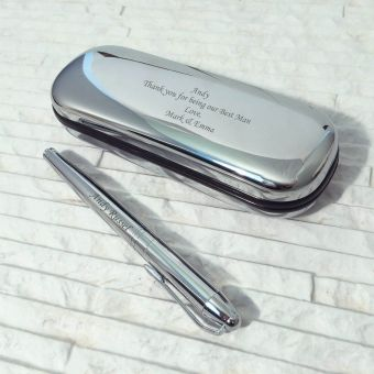 Personalised Chrome Roller Ball Pen in Chrome Box