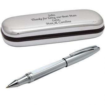 Engraved Rocket Rollerball - Silver Plated Pen In Chrome Case