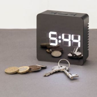 Mirrored Alarm Clock Grey