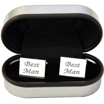 Silver Plated Rectangular Cufflinks in Chrome Case