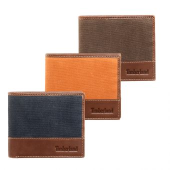 Large Bifold Mens Leather and Canvas Wallet