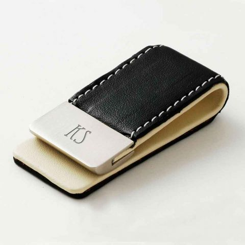 Personalised Black Leather Money Clip