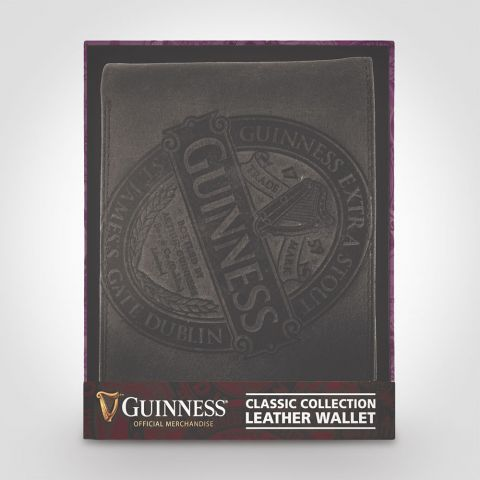 Guinness Embossed Black Leather Wallet