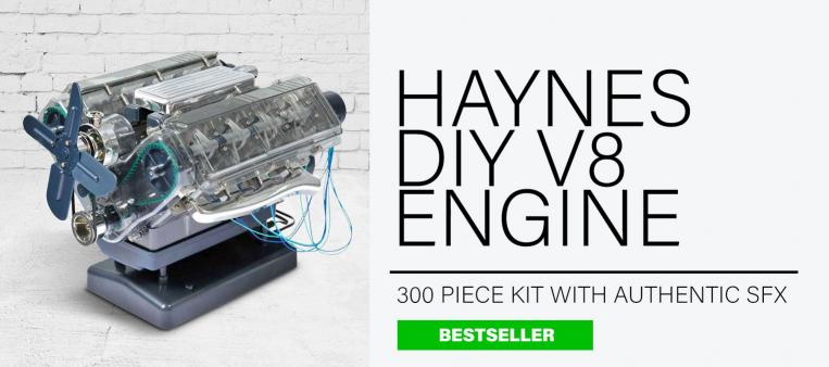 DIY Haynes V8 Engine set is built up and sat on a light grey background as one of the best gifts for men