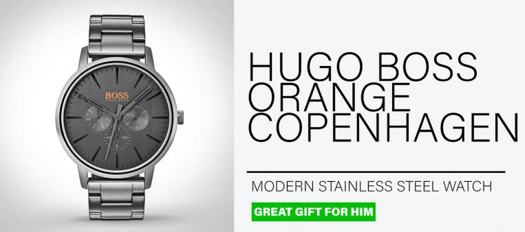 Cool grey Hugo Boss Orange Copenhagen Watch on a grey background is one of our best gifts for men
