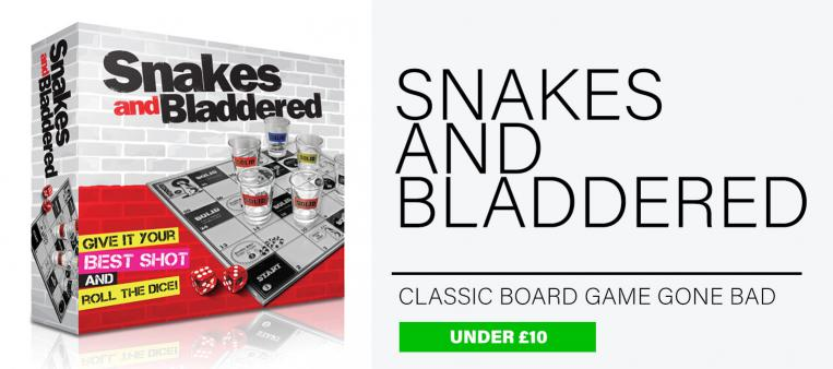 Snakes and Bladdered drinking game with branded shot glasses is one of the best gifts for men