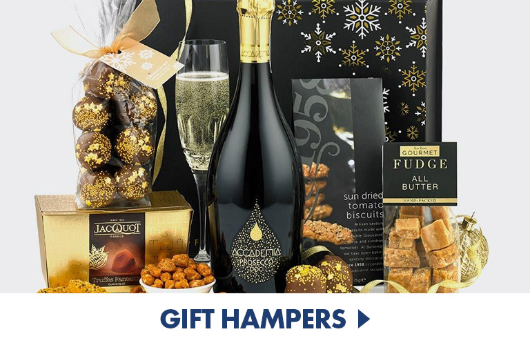 Extravagent food & drink hampers to treat those you love, perfect home warming and thank you gifts for her and for him