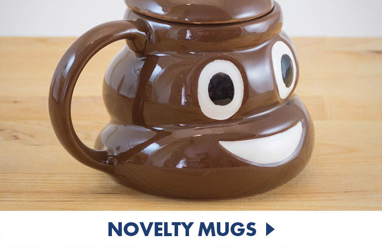 Novelty mugs that are fun and different - like this emoji poop mug