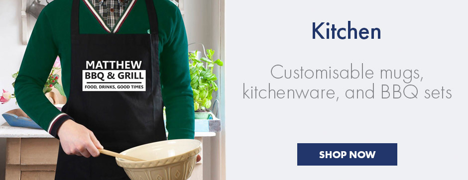 Personalised kitchen gifts - customisable mugs, kitchenware and BBQ gifts