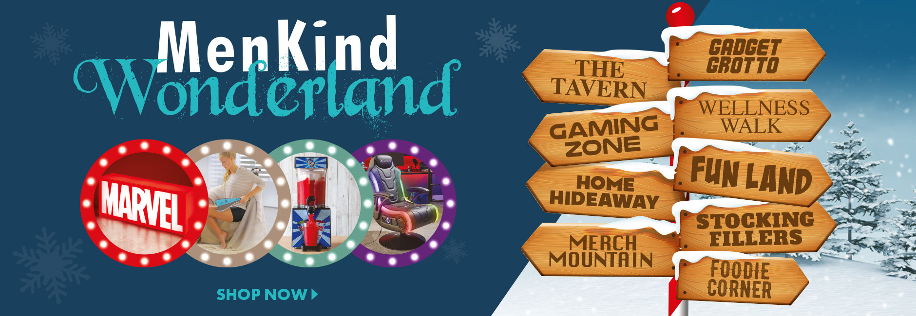 Shop for Christmas gifts in our Menkind Wonderland