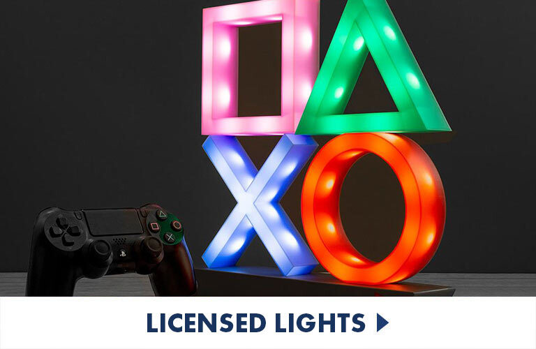 Fun lighting from all your favourite films, tv shows and games, such as our Exclusive Playstation icons light!