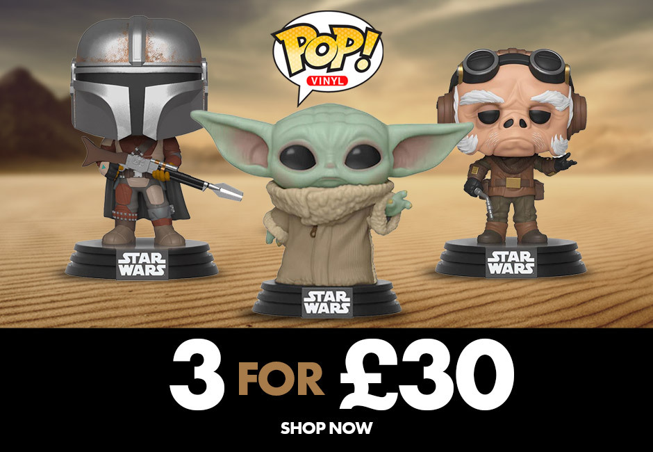 Funko Pop! Vinyl 3 for £30 off including your favourite Mandalorian characters, the child, the mandalorian and Kuiil