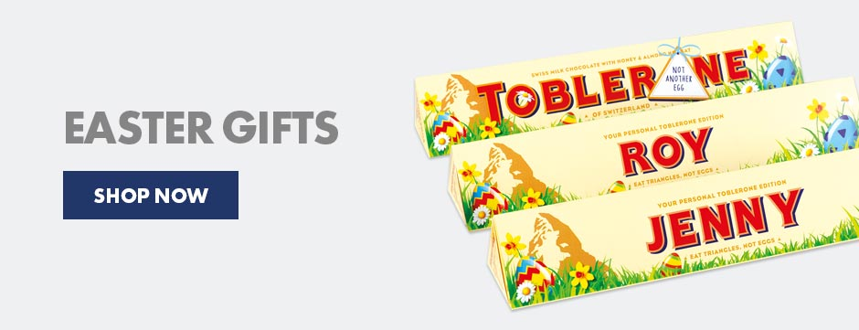 Shop range of personalised chocolates and more, including this great Easter edition of the personalised Toblerone