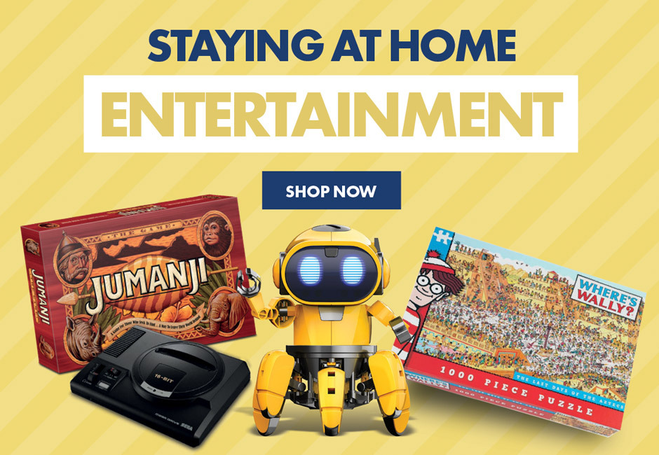 Beat the boredom with our range of toys, games, puzzle and gaming accessories. Including playstation mini, tobbie the self guiding AI robot, jumanji board game and incohearant party game, we have something for everyone
