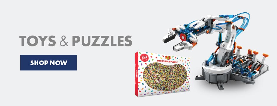 Keep busy at home with these entertaining toys and puzzles, including the jelly belly impossible puzzle and the build your own robotic arm - fun and educational