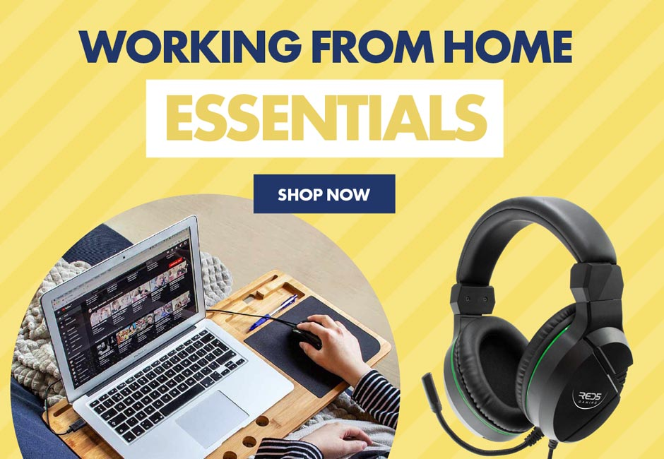 Working from home essentials. Here is everything you'll need from laptop desks and headphones, to wireless phone charging mousepads and desk fans.
